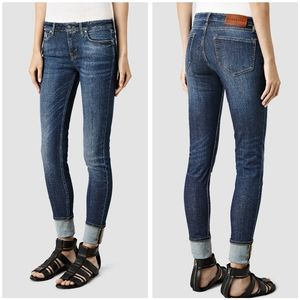 ALL SAINTS LIV ROLL UP SKINNY JEANS IN INDIGO BLUE